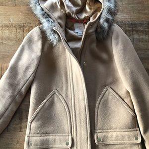 Jcrew tan wool coat with fur hood size 0